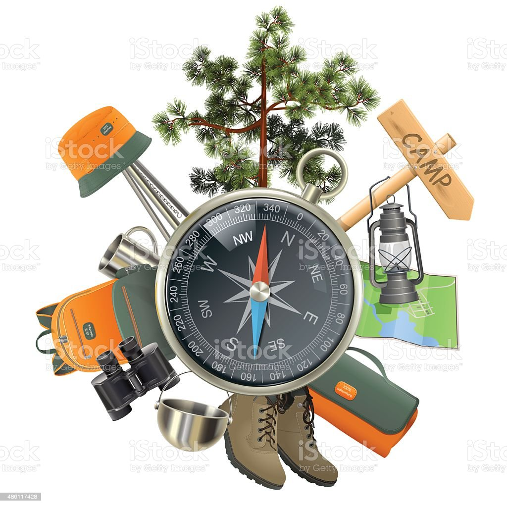 Vector Camping Concept with Compass vector art illustration