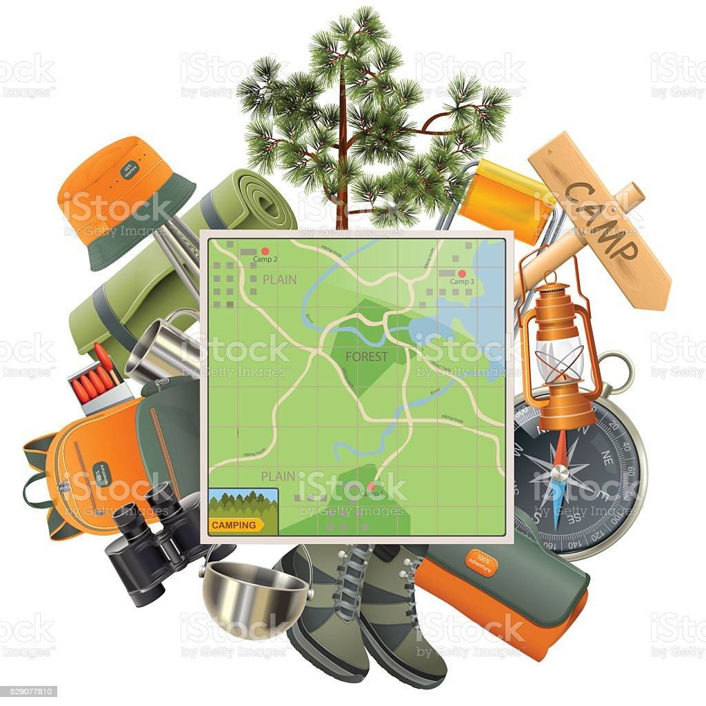 Vector Camping Concept with Map vector art illustration
