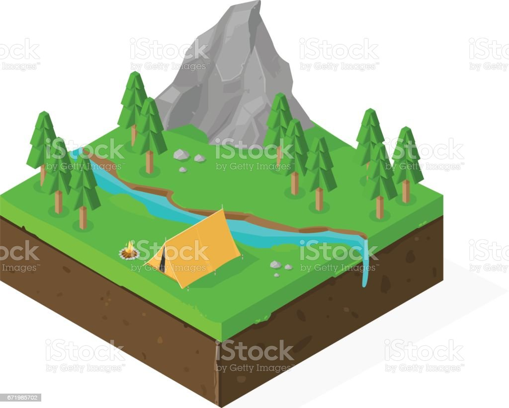 Vector Camping in the Country icon. vector art illustration