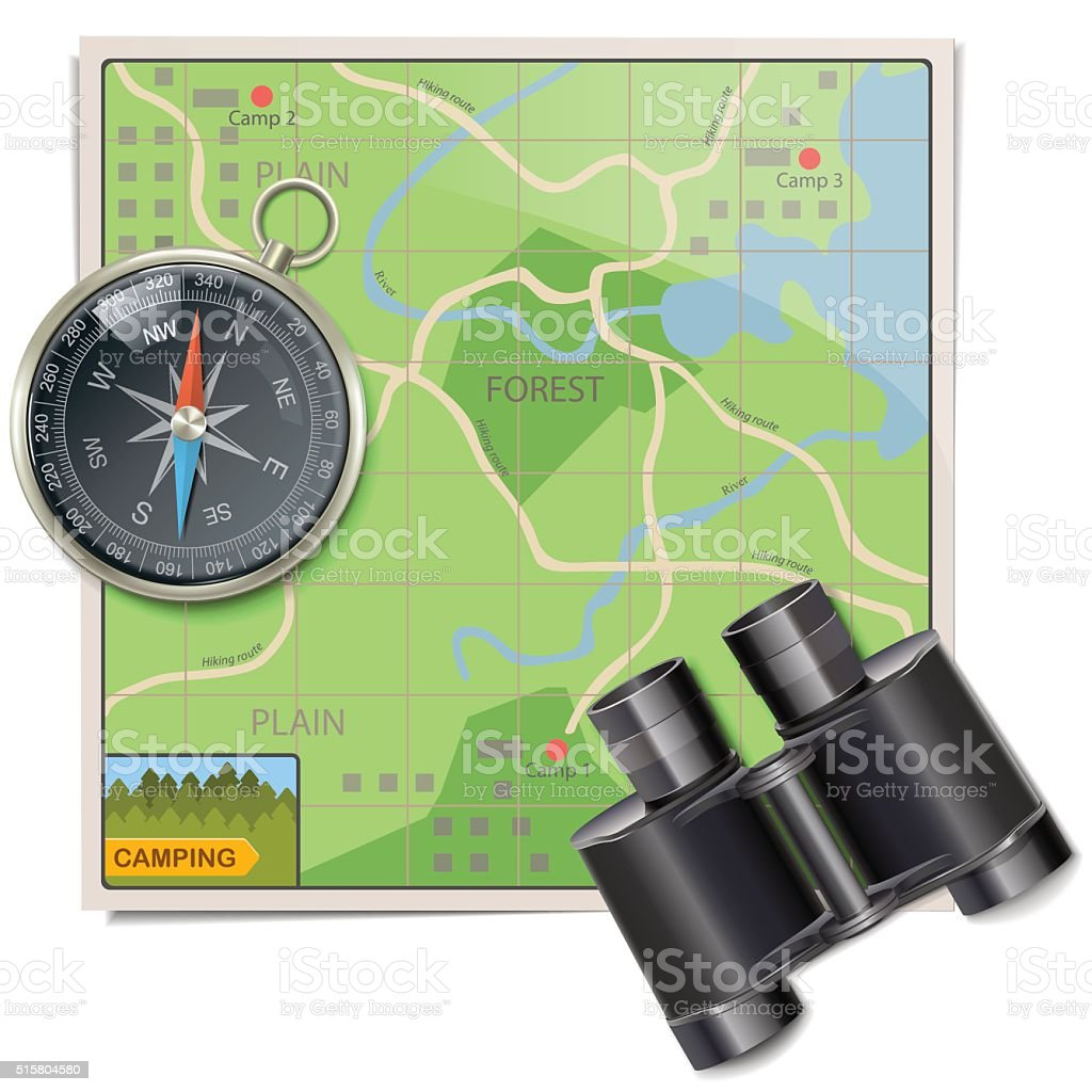 Vector Camping Map vector art illustration
