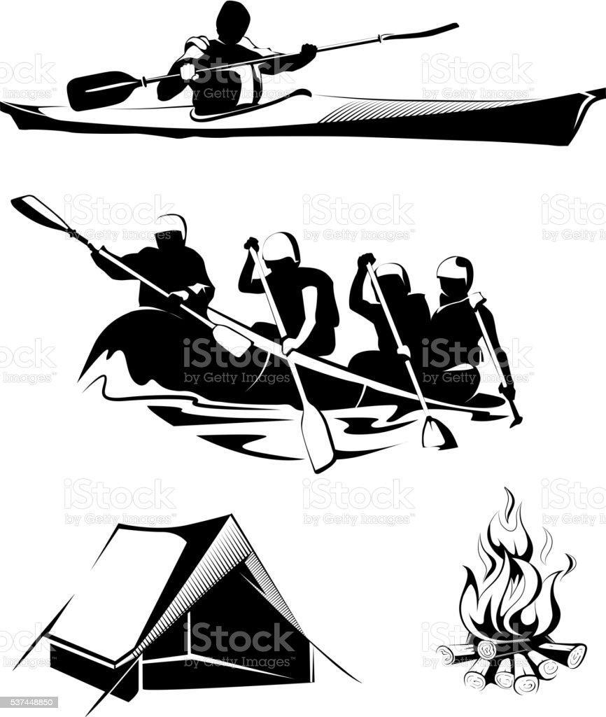 Vector camping rafting labels, logos, emblems vector art illustration
