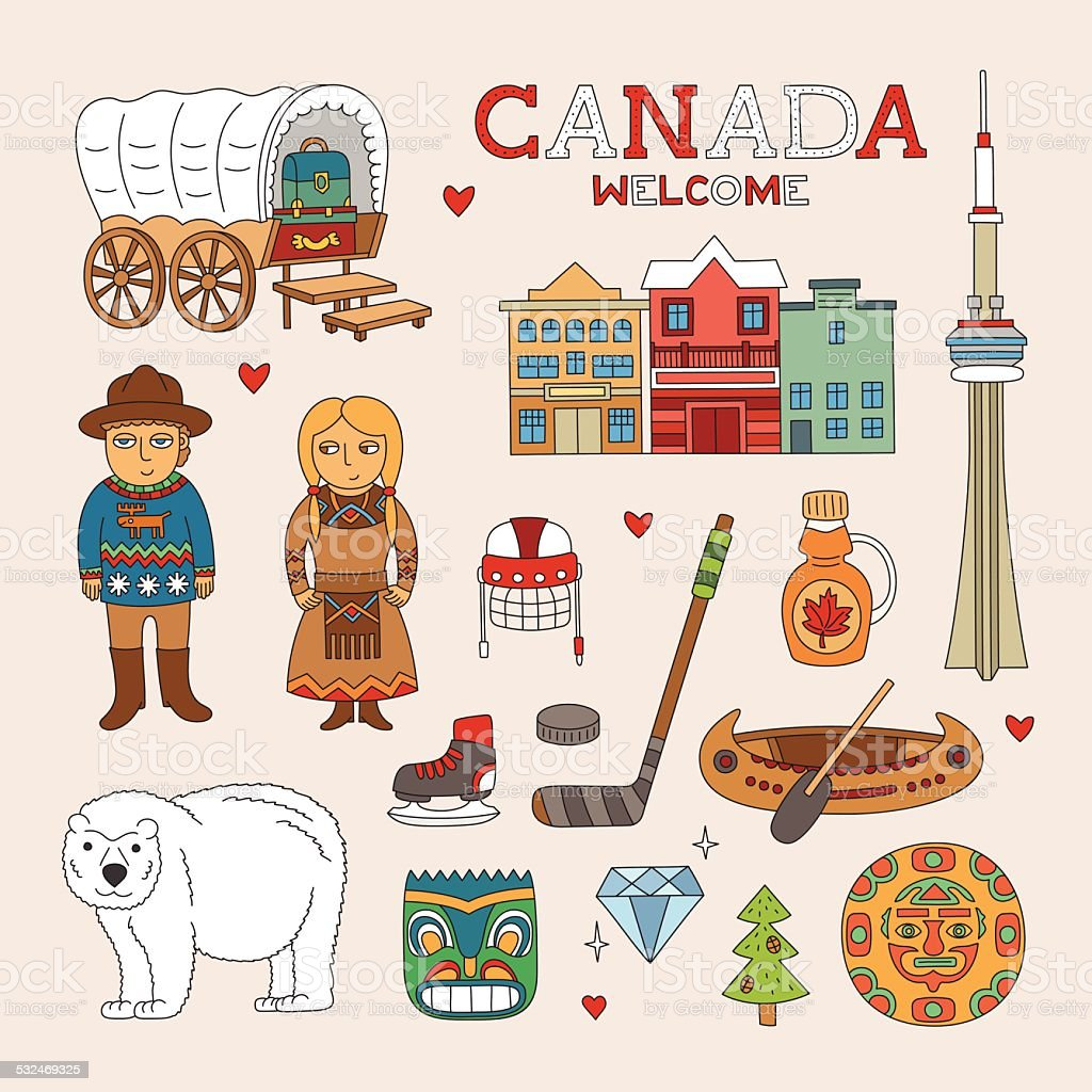 Vector Canada Doodle Art for Travel and Tourism vector art illustration