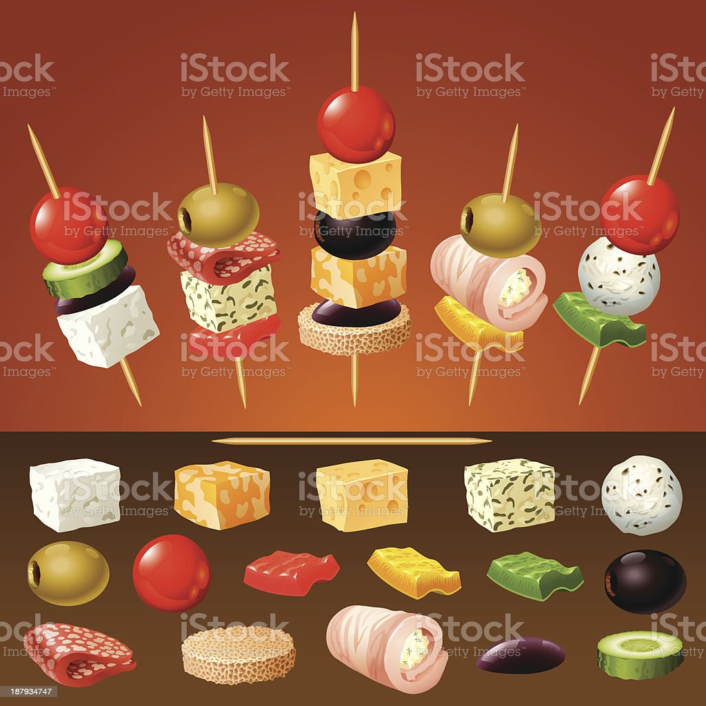 vector canapes vector art illustration