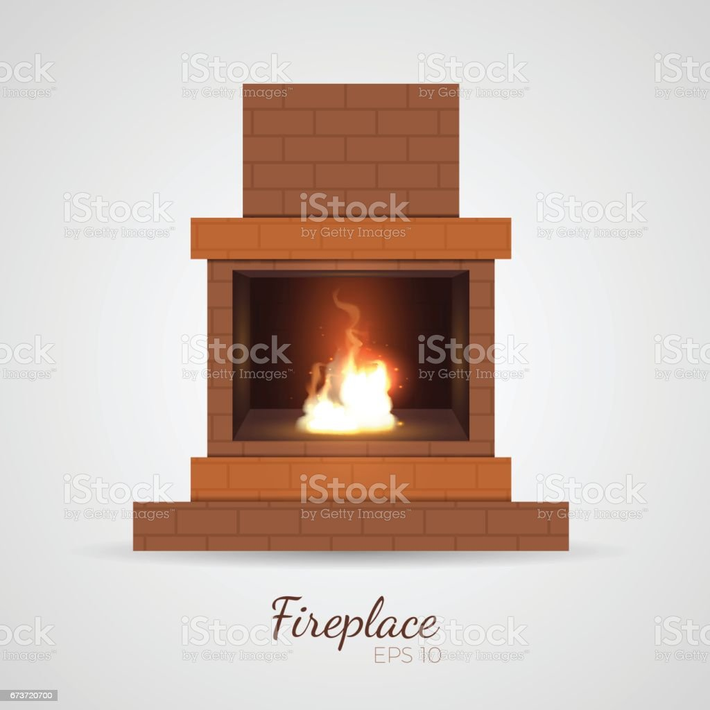 Vector candid fireplace vector art illustration