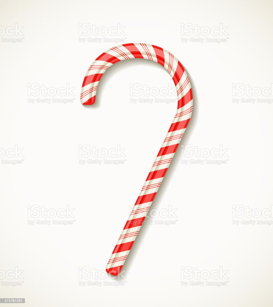 vector candy cane isolated on white vector art illustration