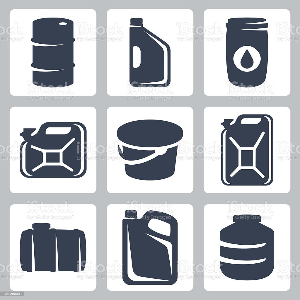 Vector cans and barrels icons set vector art illustration