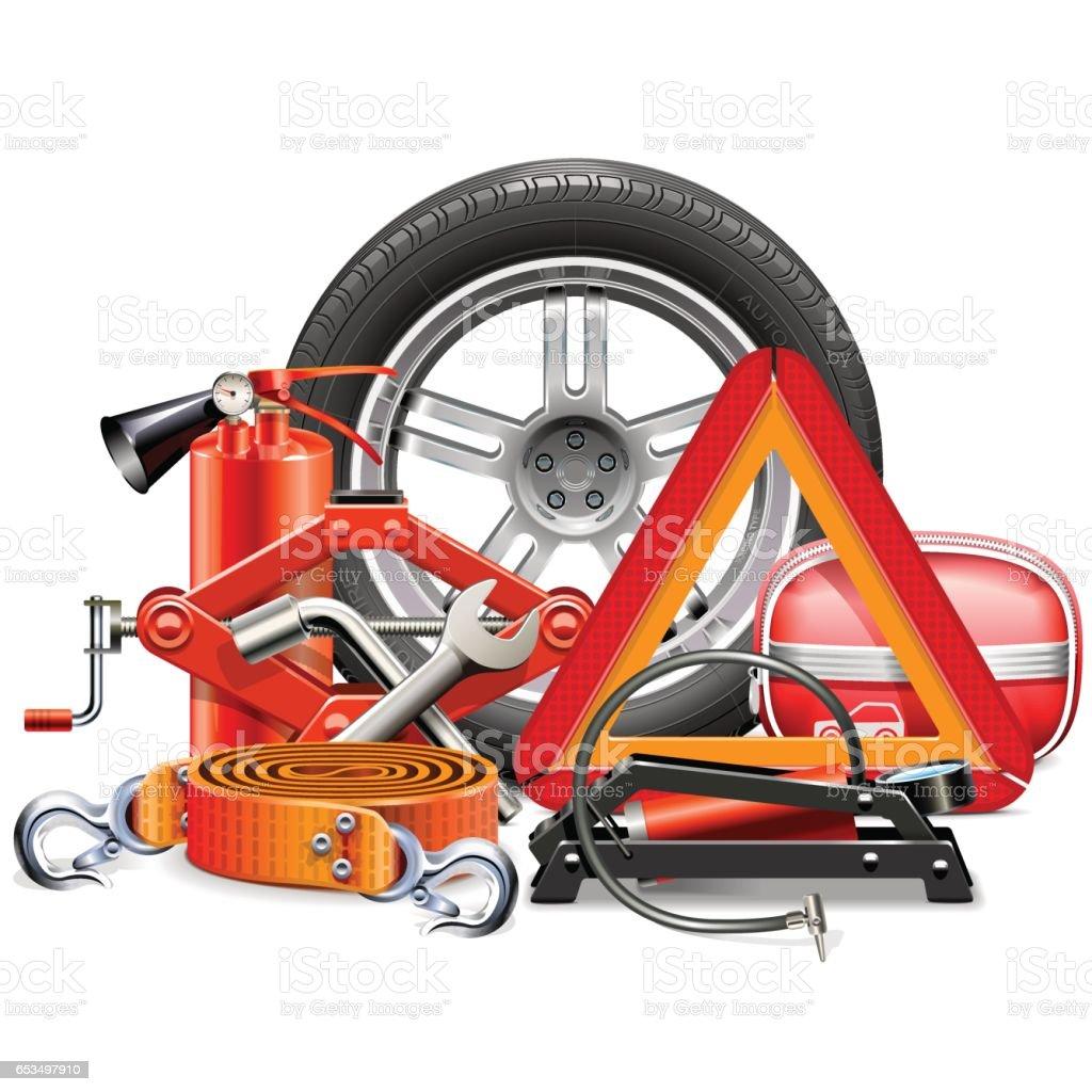 Vector Car Accessories Concept vector art illustration
