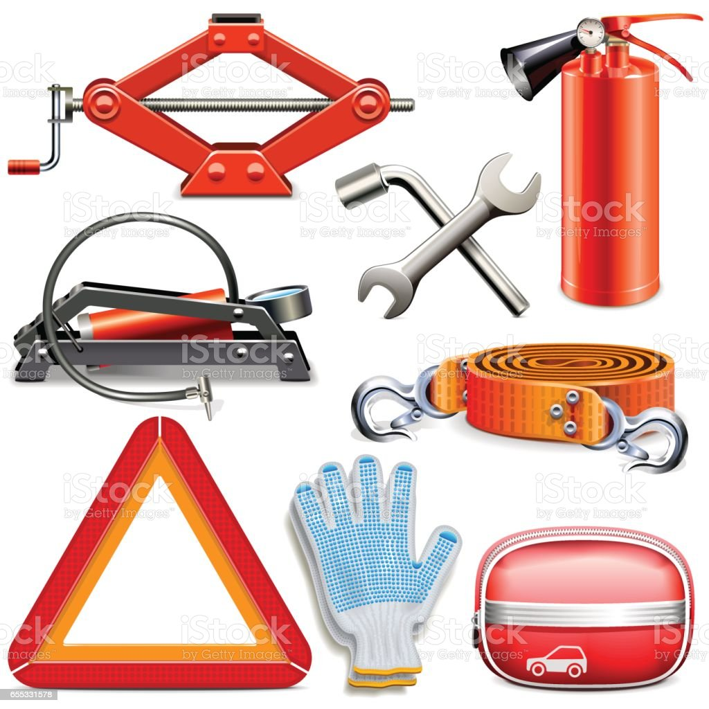 Vector Car Accessories vector art illustration