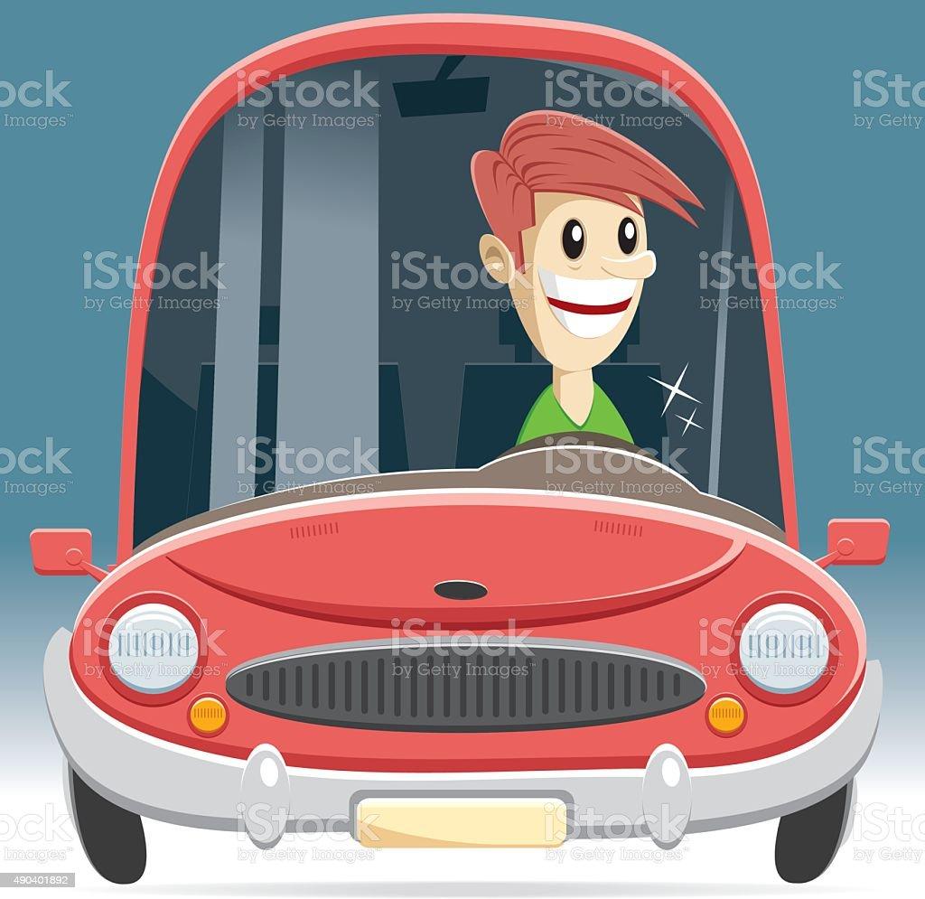 vector car and driver vector art illustration
