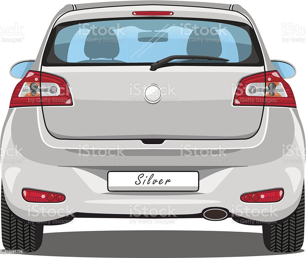 Vector Car - Back View - Silver vector art illustration