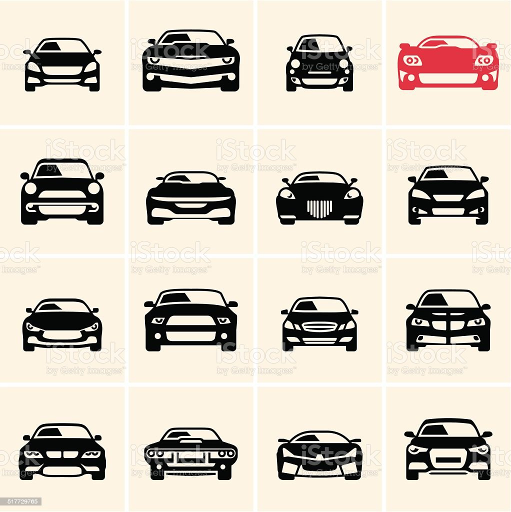vector car icons vector art illustration