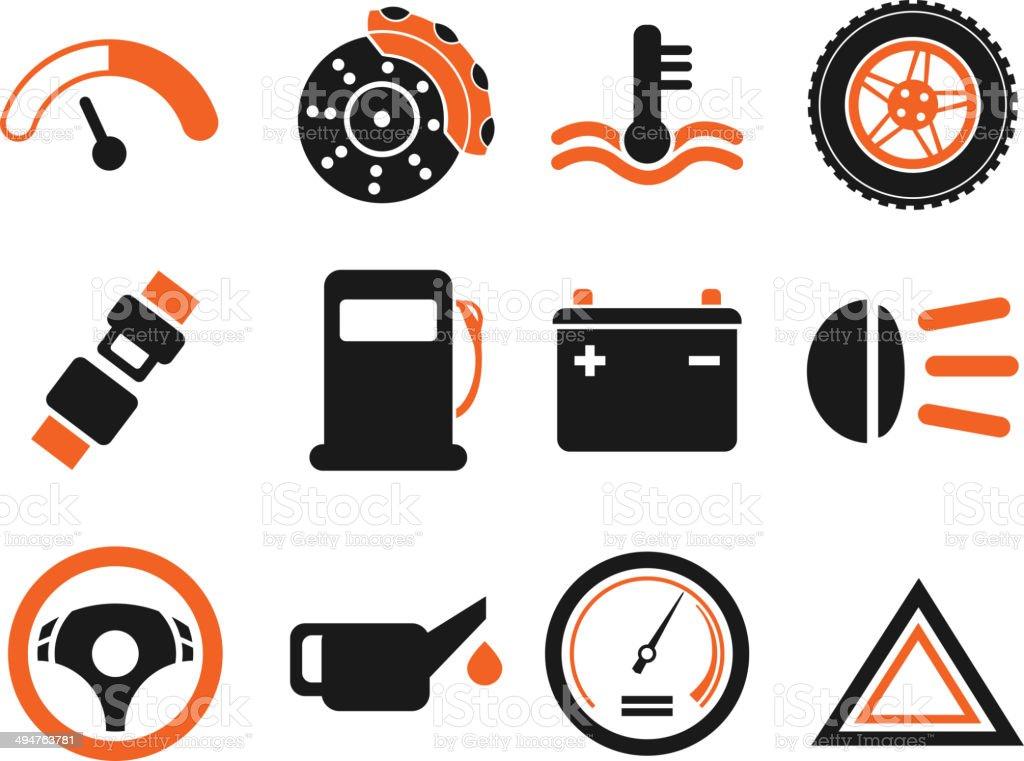 Vector car interface icon set vector art illustration