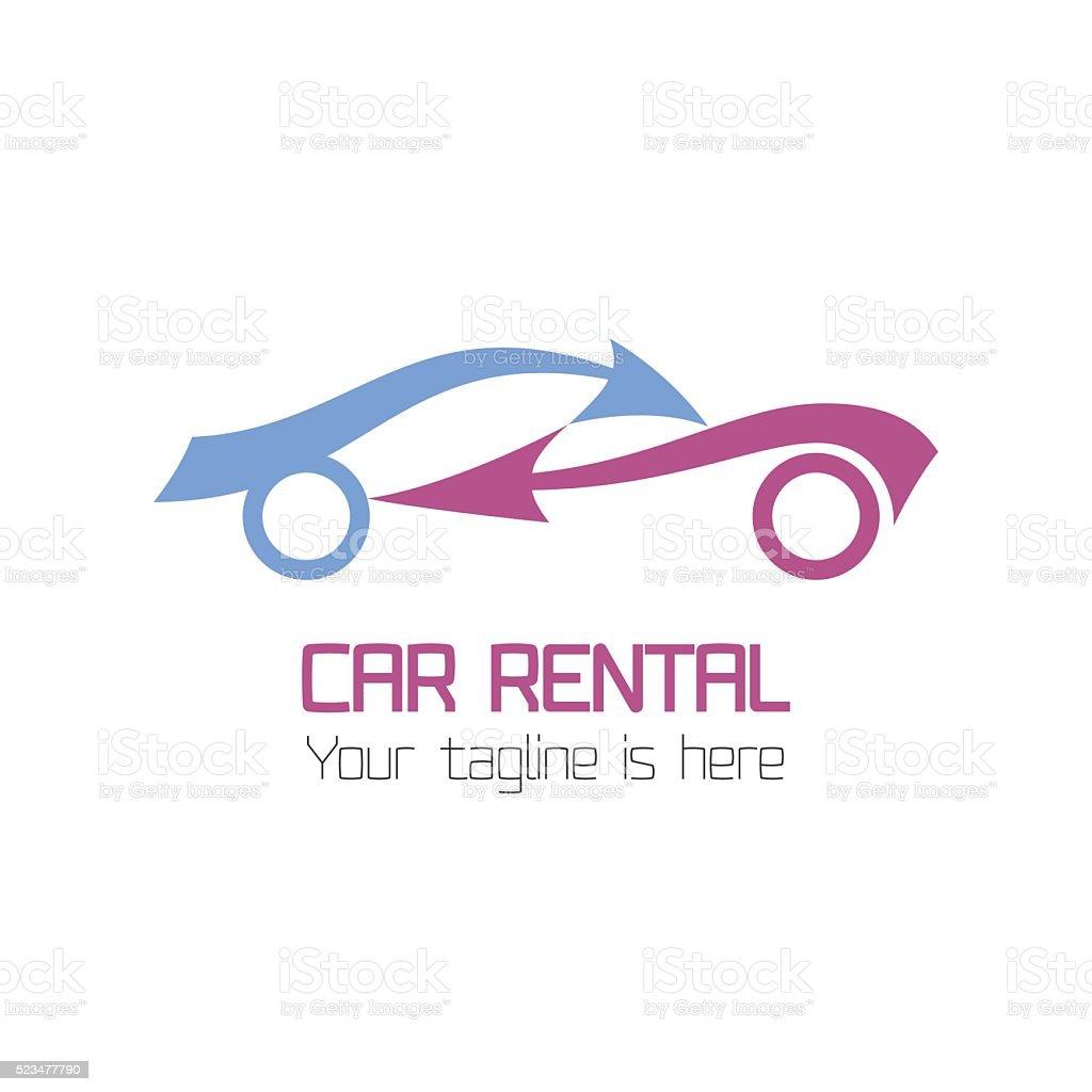 Vector car rentals label vector art illustration