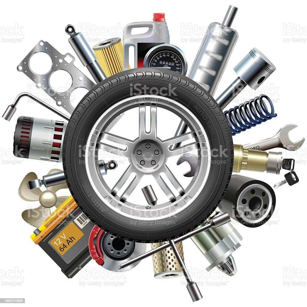 Vector Car Spares Concept with Wheel vector art illustration