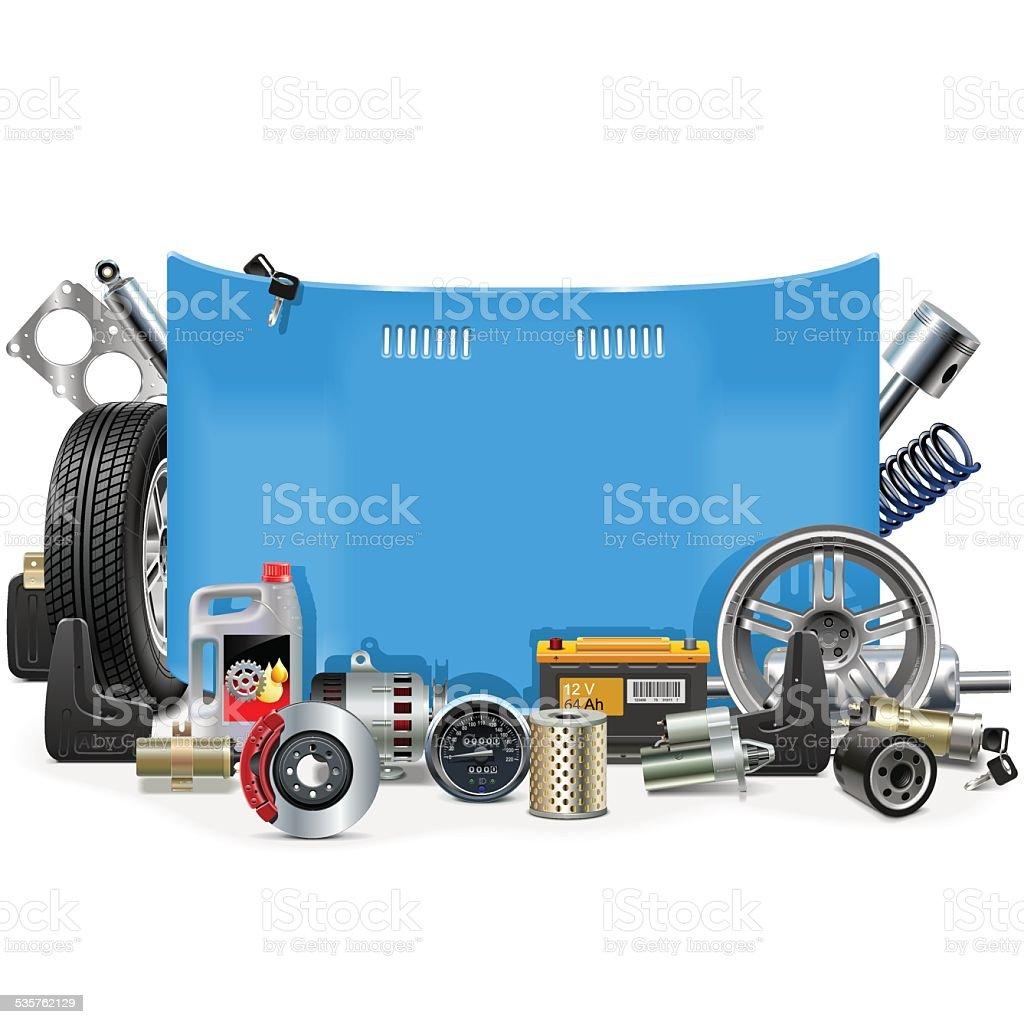 Vector Car Spares Frame vector art illustration