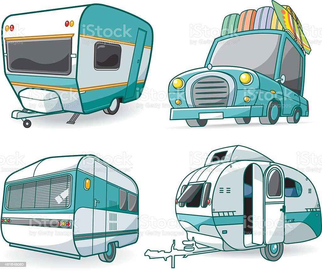 Vector caravan set vector art illustration