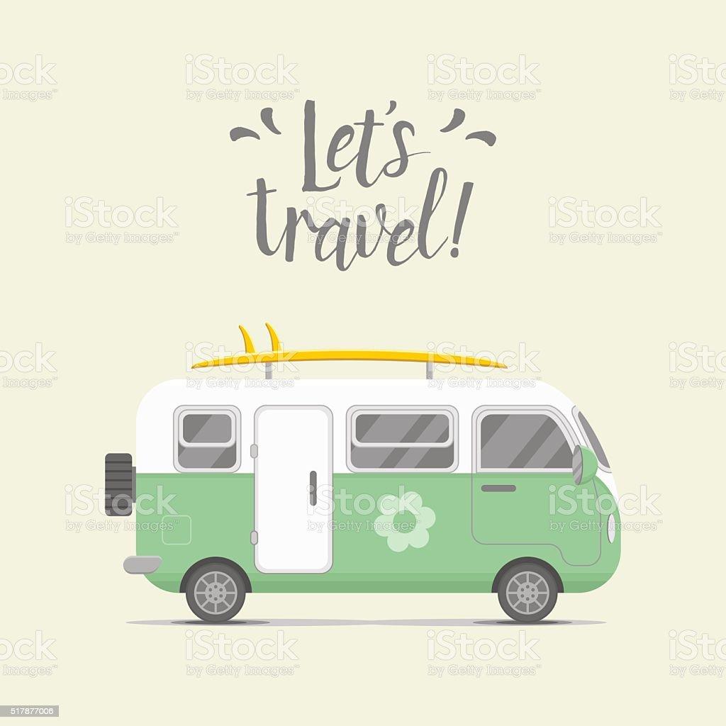 Vector caravan trailer. Trailer home illustration vector art illustration