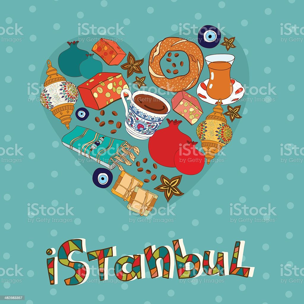 Vector card template with Istanbul souvenirs. vector art illustration