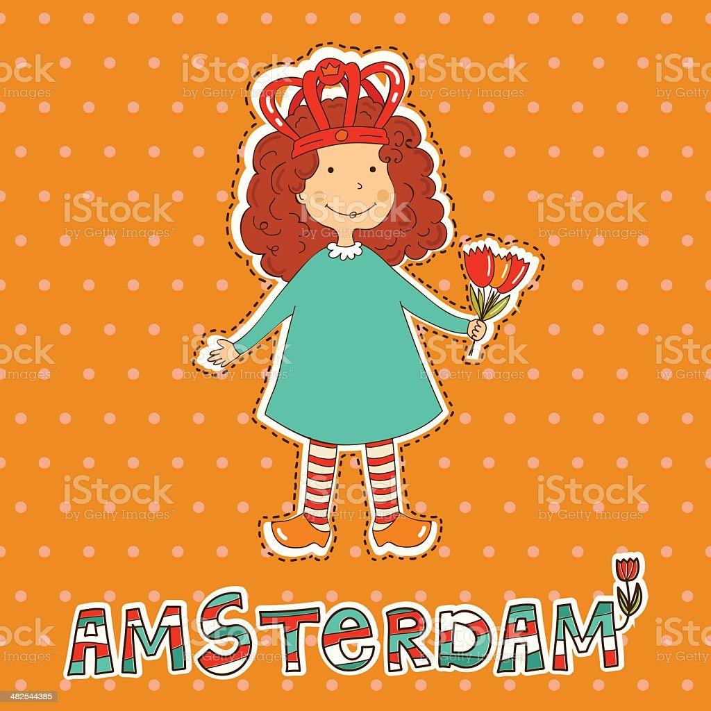 Vector tarjeta con linda chica y el signo de Amsterdam. illustracion libre de derechos libre de derechos