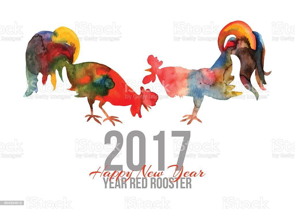 Vector card with fire cocks in watercolor and text Happy vector art illustration