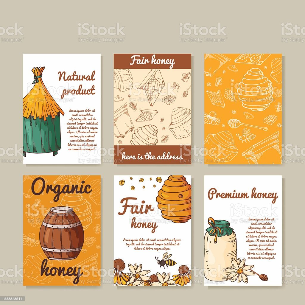 Vector card with honey elements. Template for menu, poster, card. vector art illustration