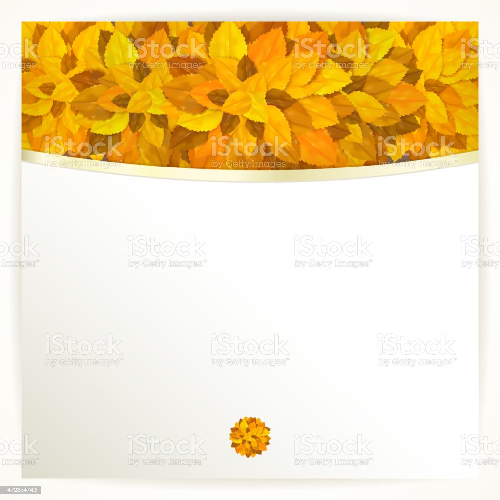 Vector card with orange leaves. Autumn background. royalty-free stock vector art