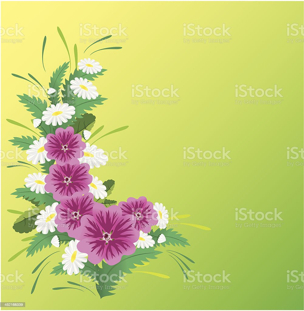 vector card with pink and white flowers royalty-free stock vector art