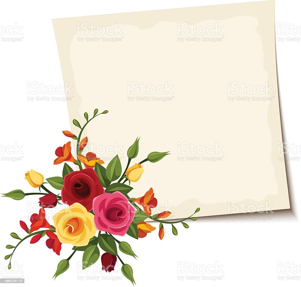 Vector card with red and yellow roses. royalty-free stock vector art