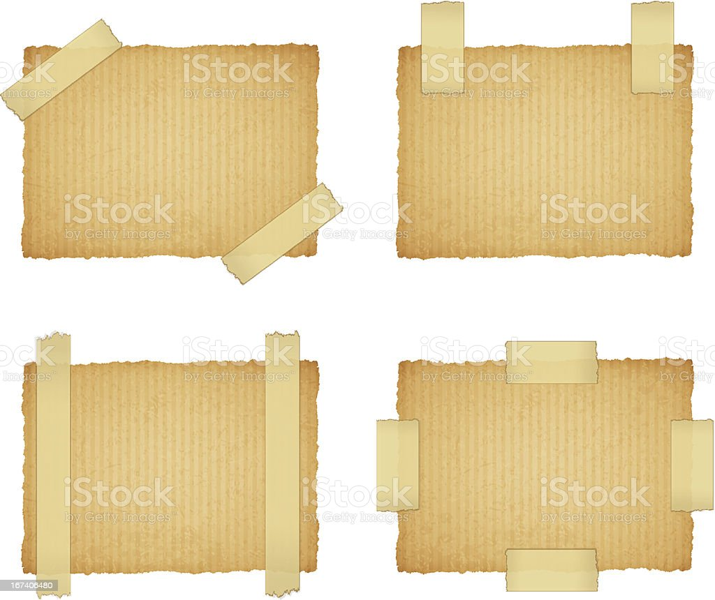 vector cardboard labels attached with a sticky tape royalty-free stock vector art