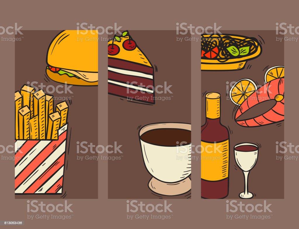 Vector cards fresh fast food hand drawn restaurant breakfast cake design kitchen unhealthy dessert vector art illustration