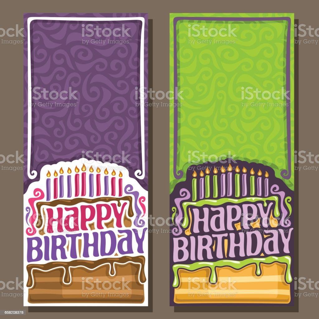 Vector cards Happy Birthday vector art illustration