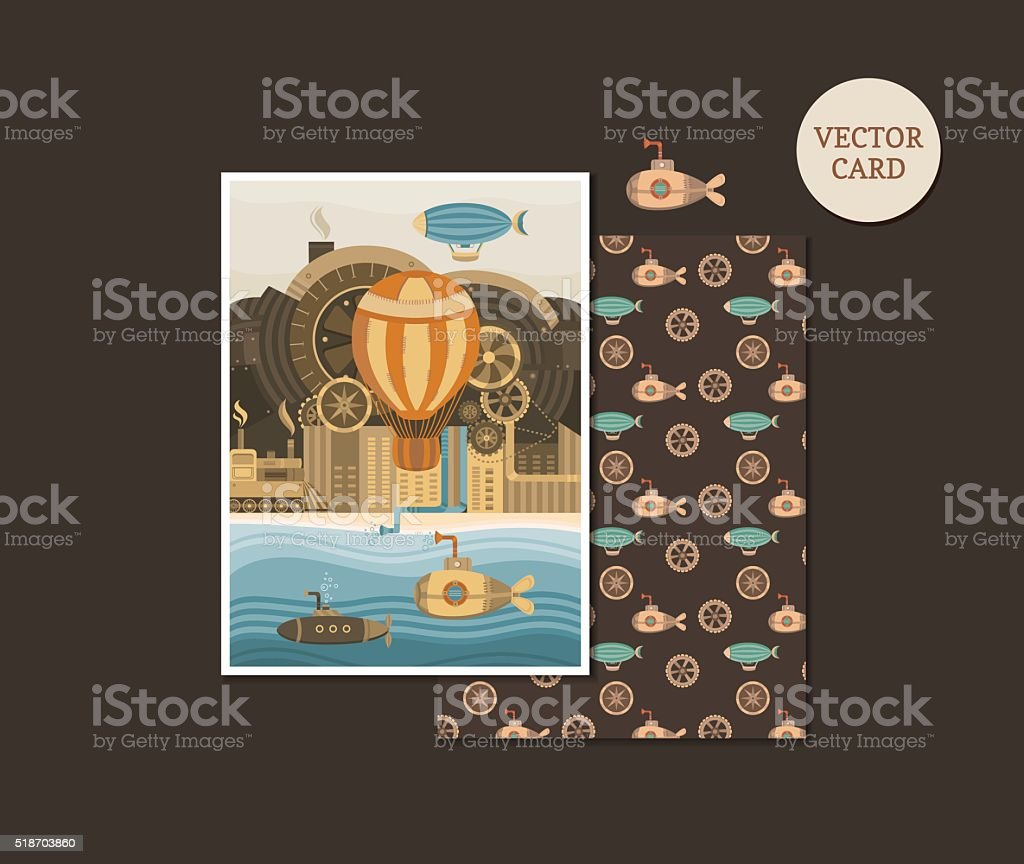 Vector cards steampunk vector art illustration