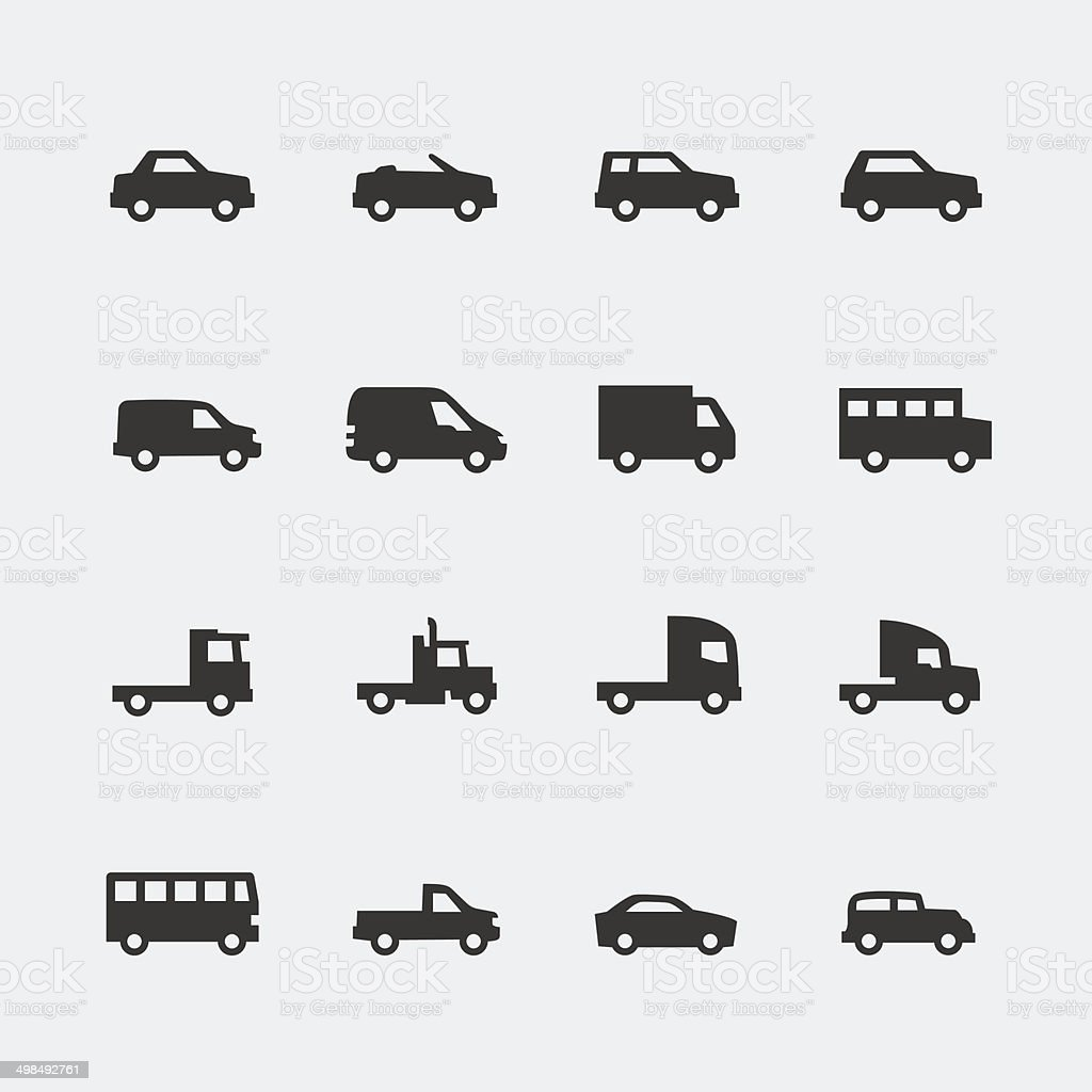 Vector cars / vehicles mini icons set vector art illustration