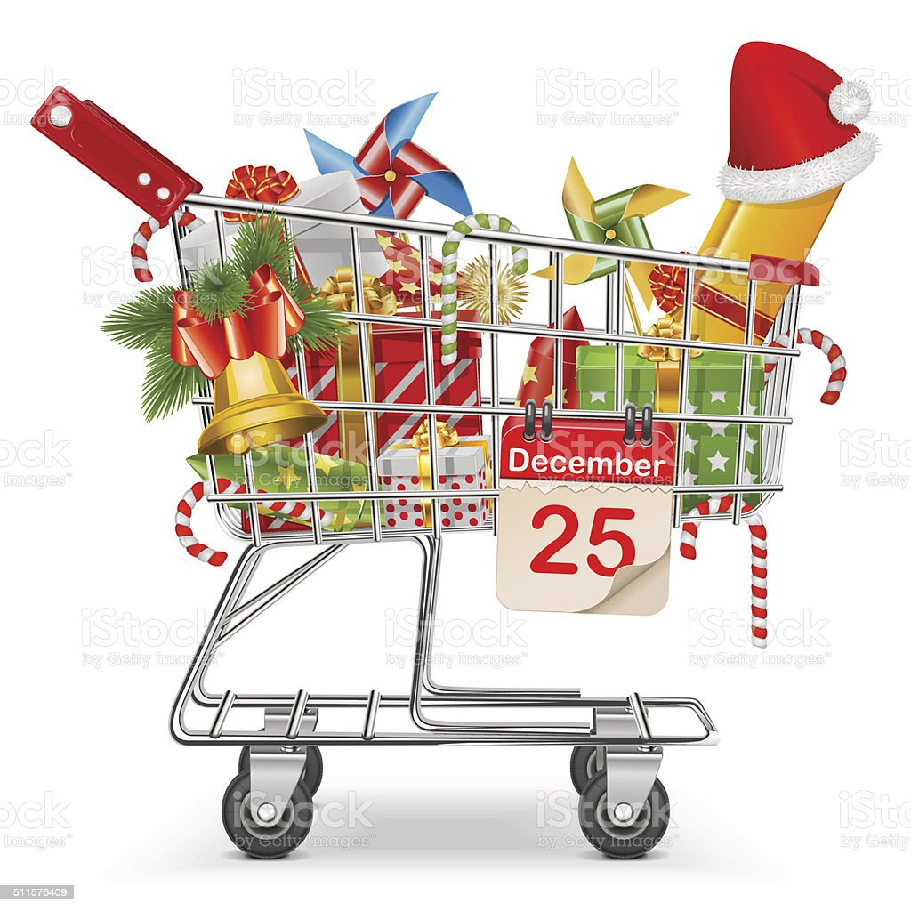 Vector Cart with Christmas Decorations vector art illustration