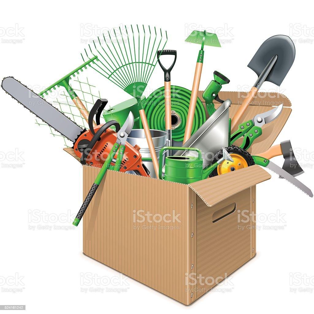 Vector Carton Box with Garden Accessories vector art illustration