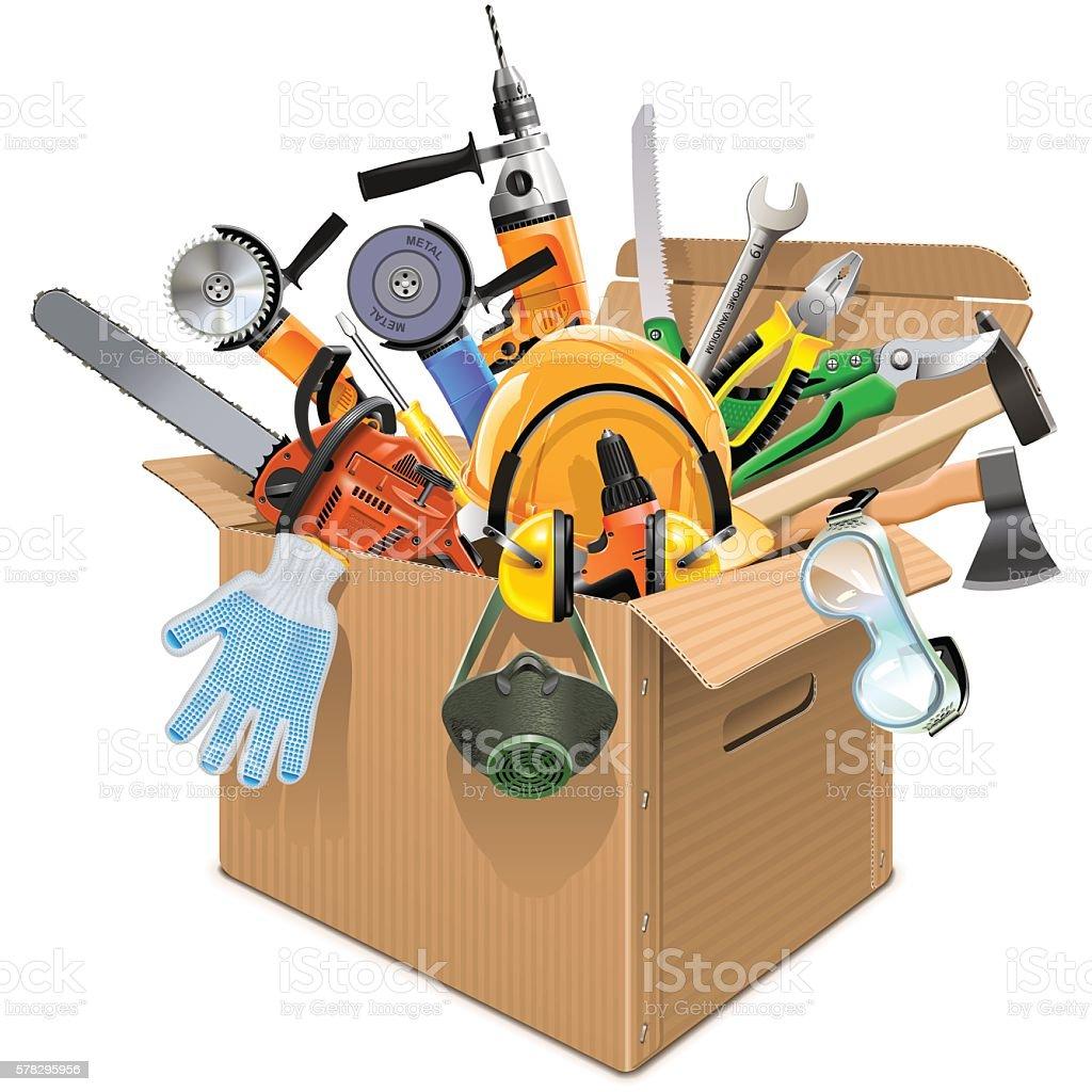 Vector Carton Box with Tools vector art illustration
