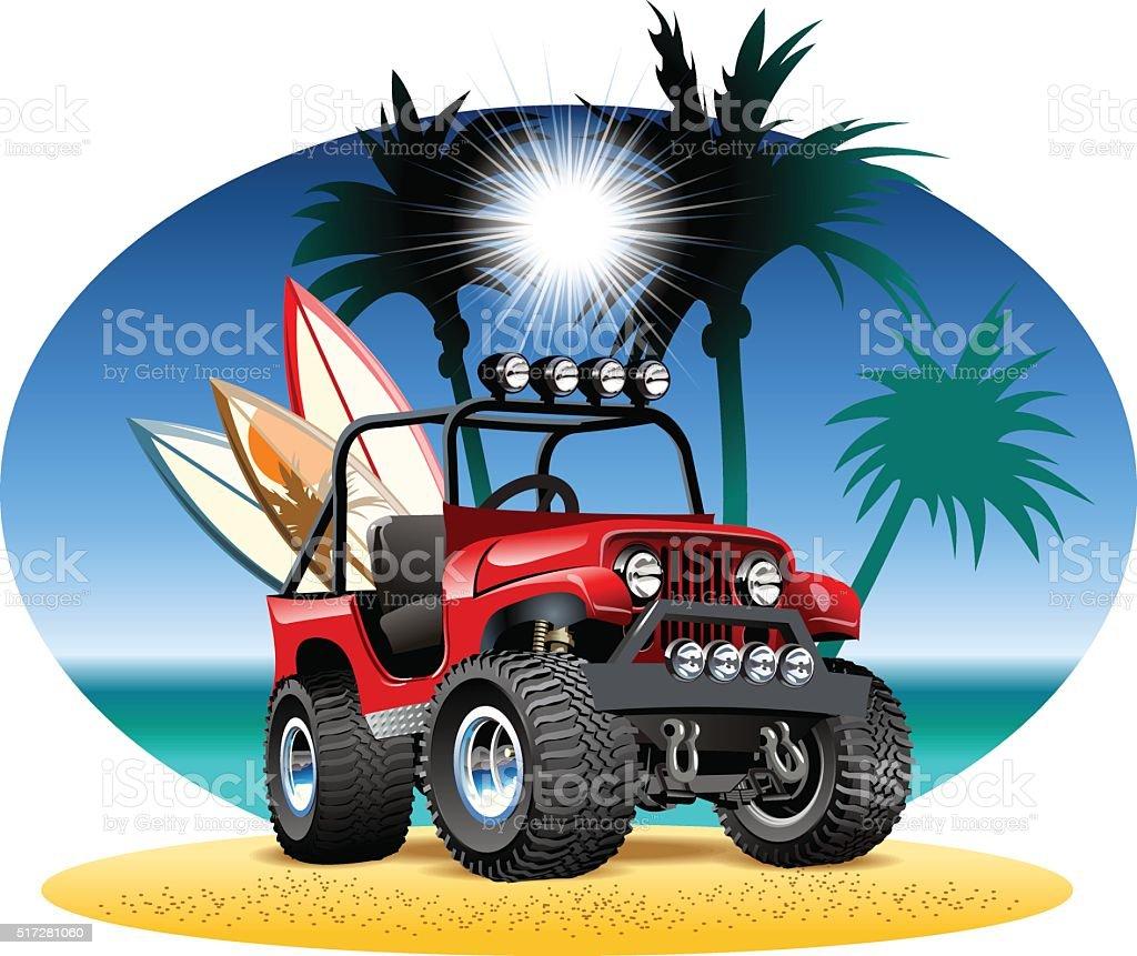 Vector cartoon 4x4 car on beach vector art illustration