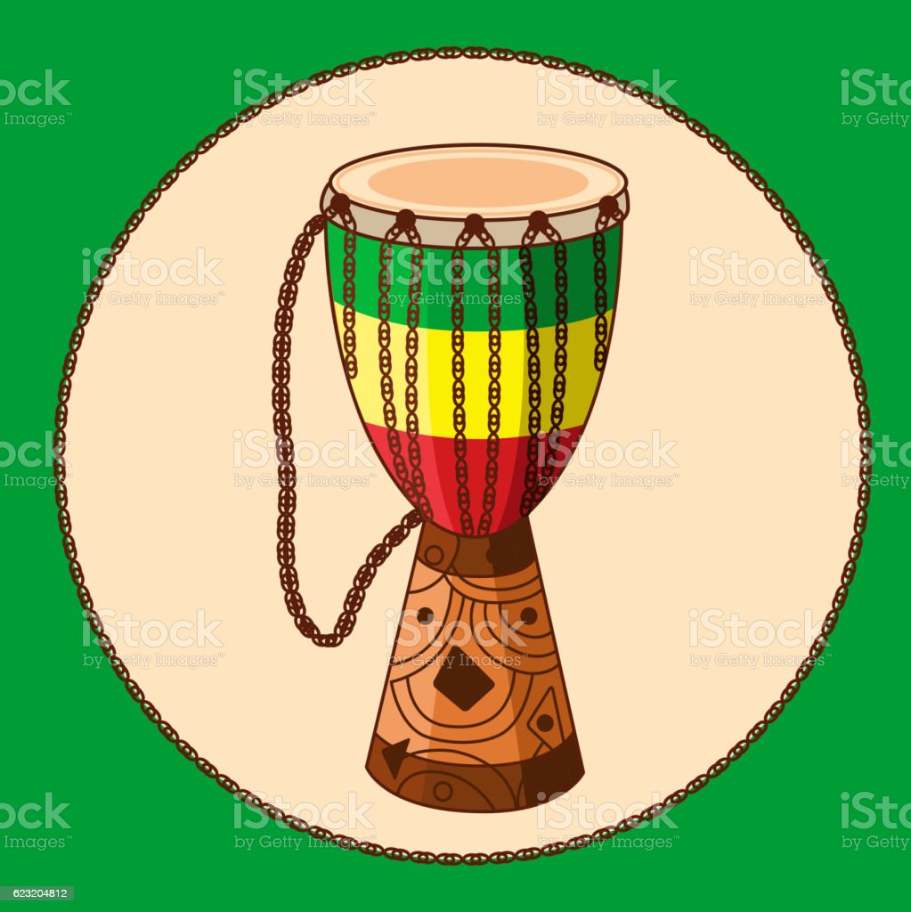 Vector cartoon african drum djembe vector art illustration