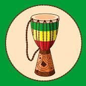 Vector cartoon african drum djembe