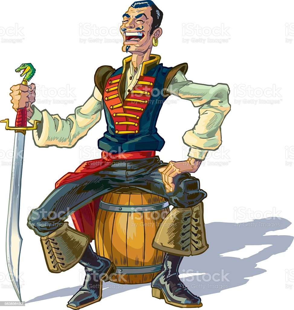 Vector Cartoon Arabian Sailor or Pirate Sitting on Barrel vector art illustration