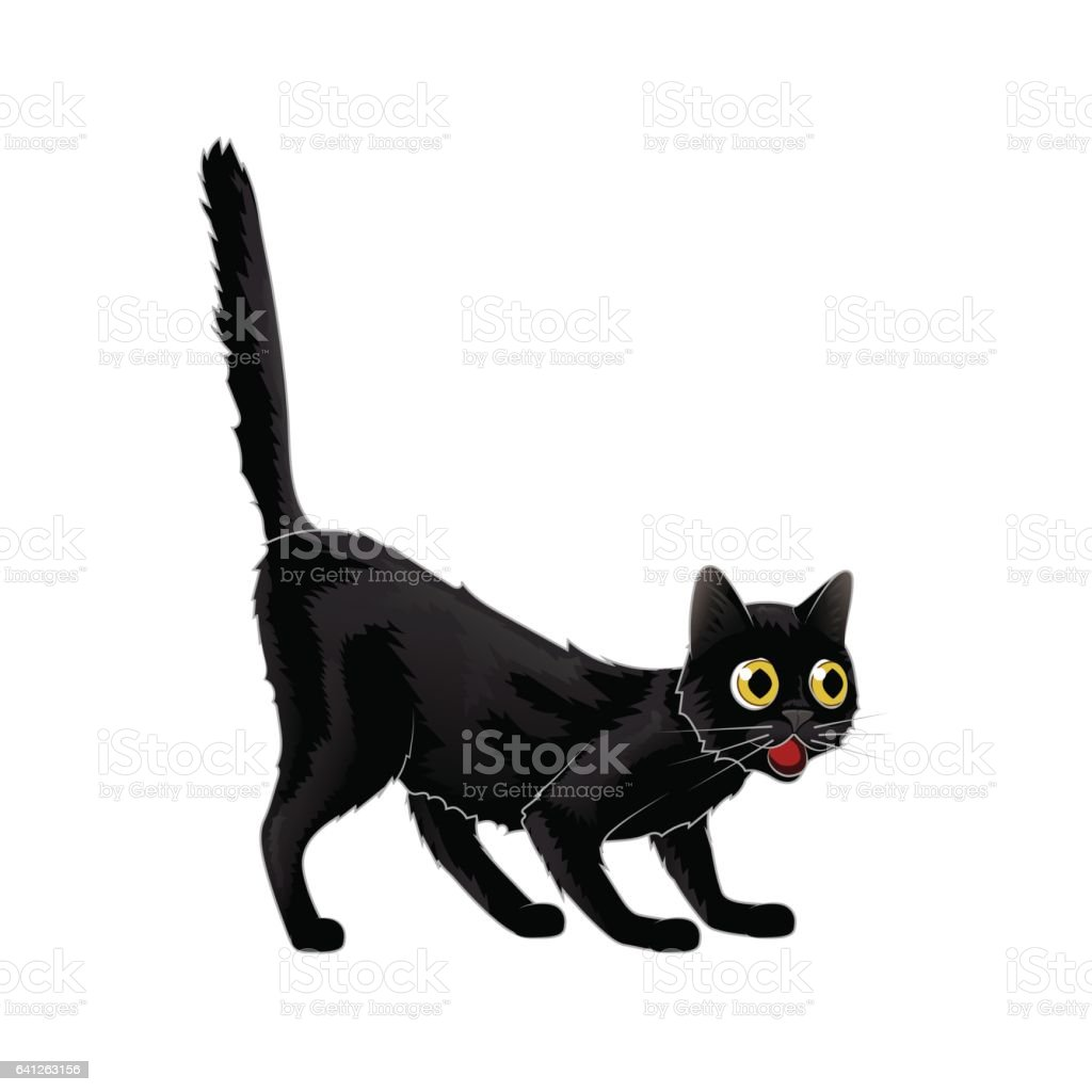 Vector Cartoon Black Cat in shock she was astonished Isolated vector art illustration