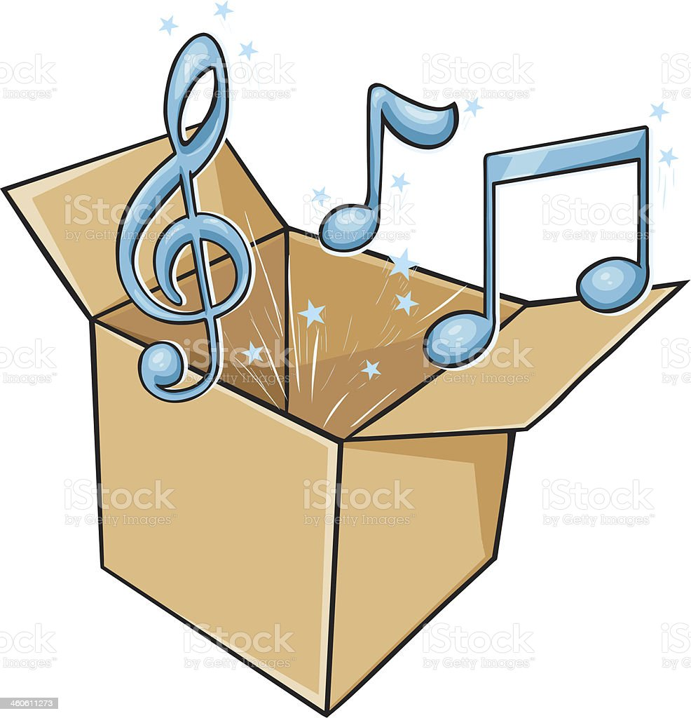 vector cartoon box with music vector art illustration