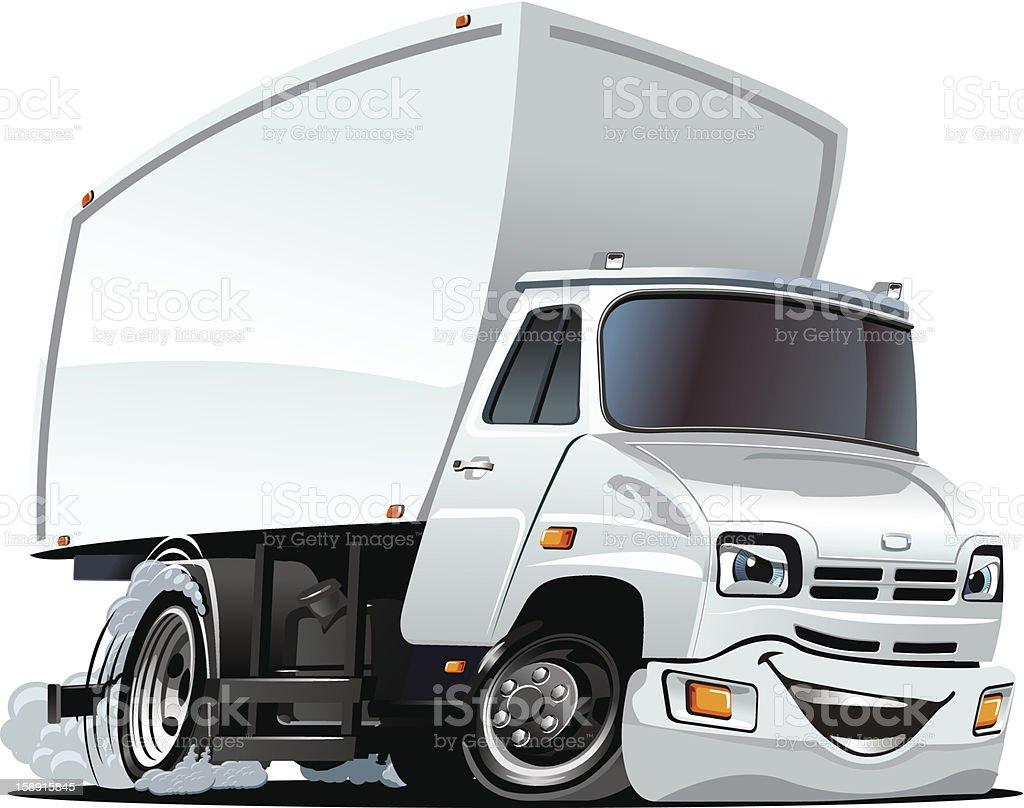 Vector Cartoon Cargo Truck vector art illustration