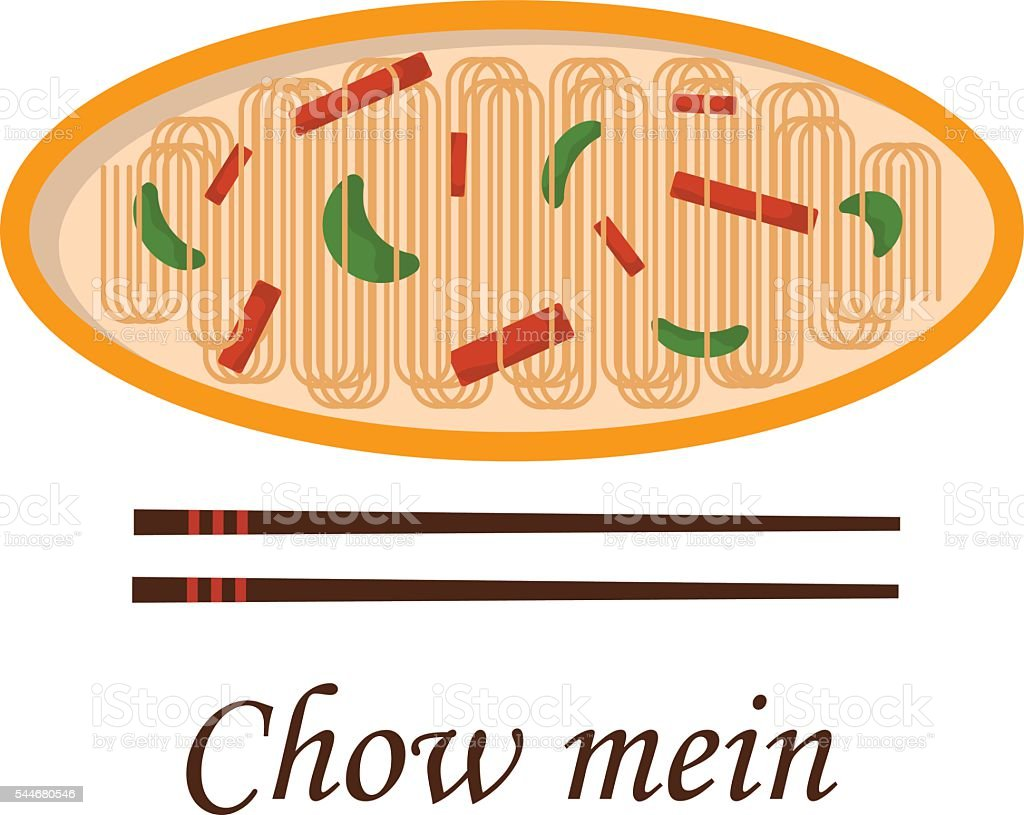 Vector cartoon chinese chow mein vector art illustration