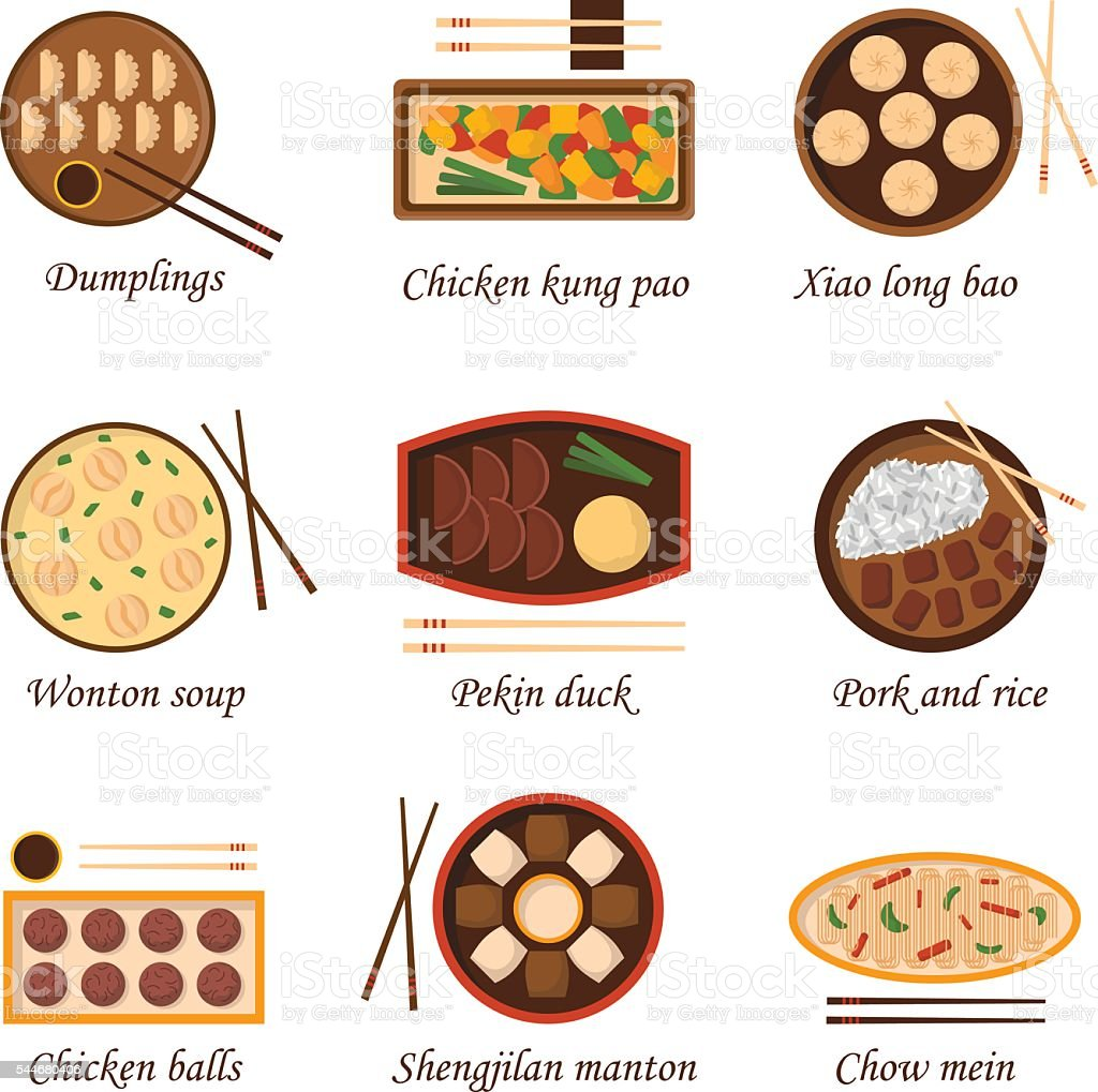 Vector cartoon chinese cuisine food vector art illustration