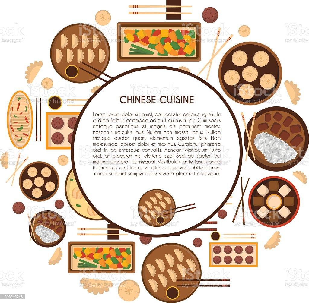 Vector cartoon chinese cuisine food vector art illustration