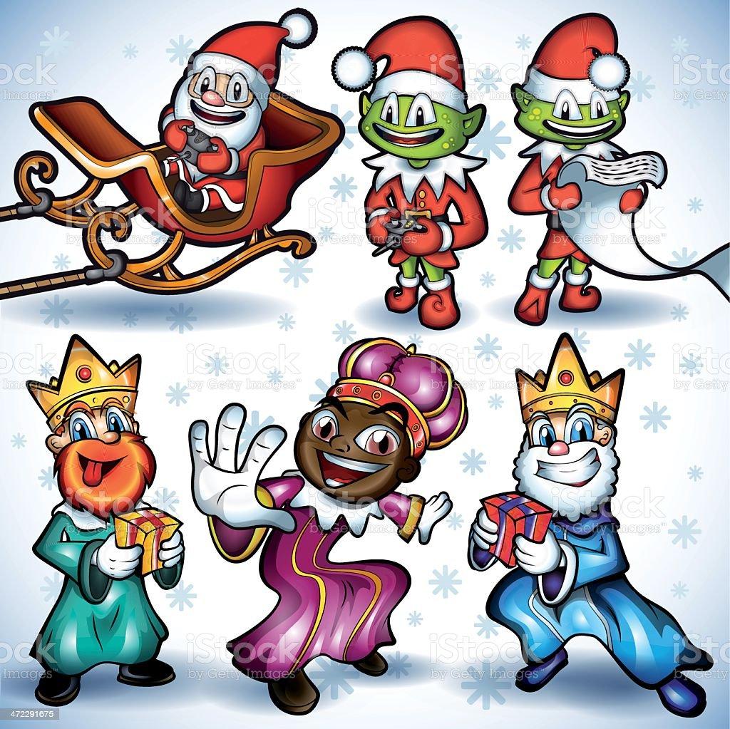 Vector Cartoon Christmas Characters Illustration Set vector art illustration