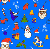 Vector cartoon Christmas seamless pattern with snowman, owls, gift boxes