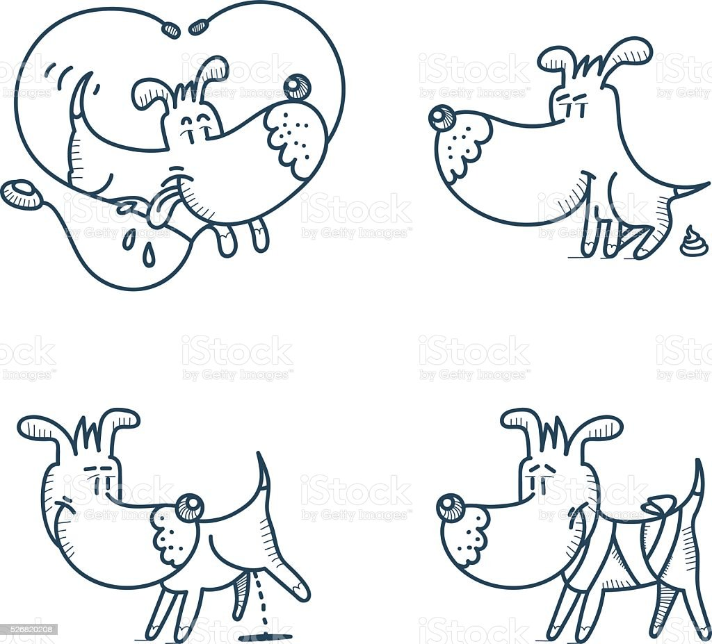 Vector cartoon dog in action vector art illustration