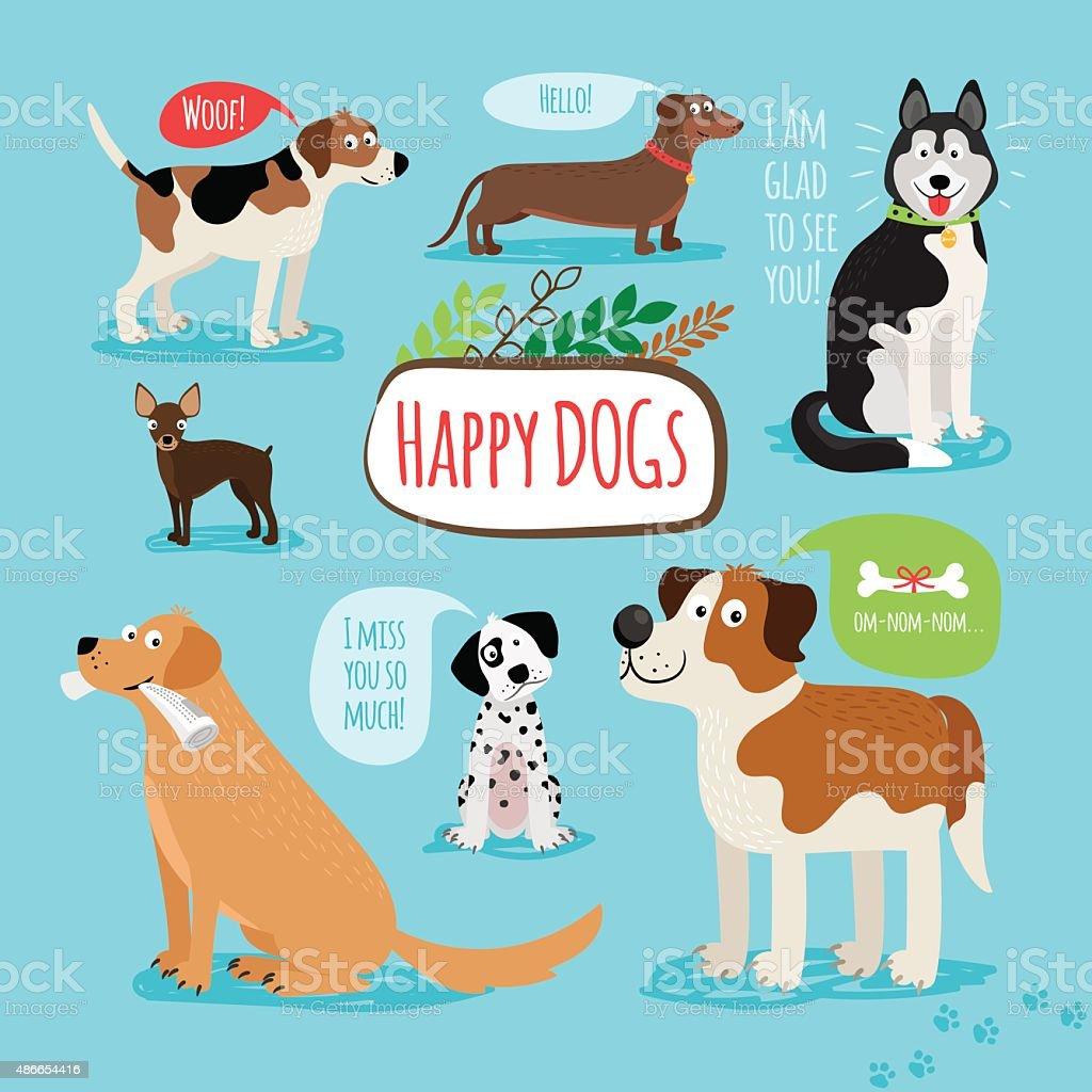 Vector cartoon dogs vector art illustration